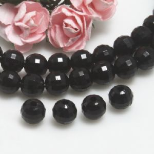 Beads, Imitation Crystal beads, Acrylic, black, Faceted spherical, Diameter 6mm, 5g, 50 Beads,[SLZ0518]